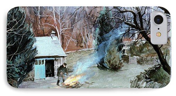 Lakeland Bonfire, 1996 Gouache IPhone Case by John Cooke