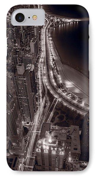 Lakeshore Drive Aloft Bw Warm Phone Case by Steve Gadomski