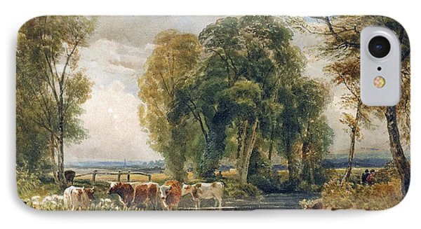 Landscape Cattle In A Stream With Sluice Gate Phone Case by Peter de Wint