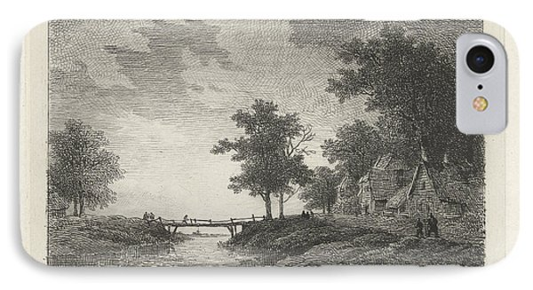Landscape With Figures Near A Bridge, Print Maker Remigius IPhone Case by Remigius Adrianus Haanen