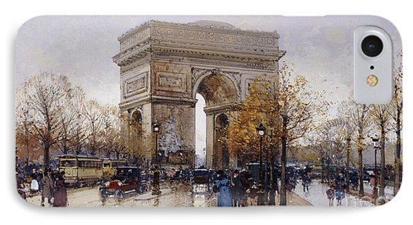 L'arc De Triomphe Paris IPhone Case by Eugene Galien-Laloue