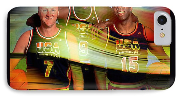 Larry Bird Michael Jordon And Magic Johnson IPhone Case by Marvin Blaine