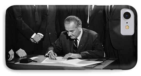 Lbj Signs Civil Rights Bill IPhone 7 Case by Underwood Archives Warren Leffler