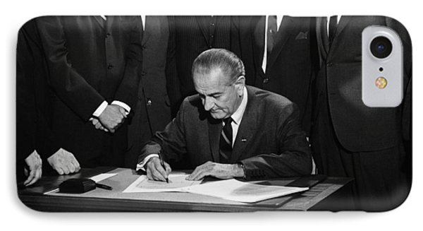 Lbj Signs Civil Rights Bill IPhone Case by Underwood Archives Warren Leffler