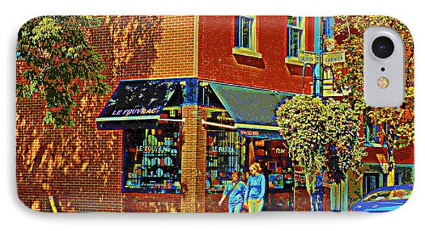 Le Fouvrac Foods Chocolates And Coffee Shop Corner Garnier And Laurier Montreal Street Scene Phone Case by Carole Spandau