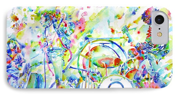 Led Zeppelin Live Concert - Watercolor Painting IPhone 7 Case by Fabrizio Cassetta