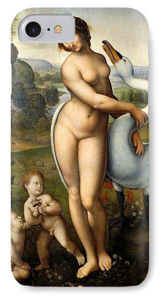 Leda And Swan IPhone Case by Leonardo Da Vinci