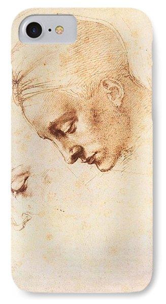 Leda's Head - Study IPhone Case by Michelangelo Buonarroti