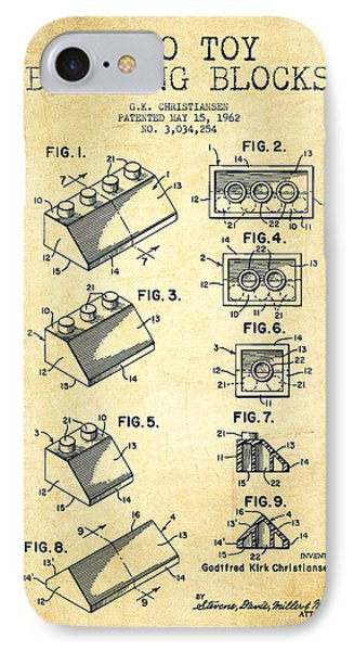 Lego Toy Building Blocks Patent - Vintage Phone Case by Aged Pixel
