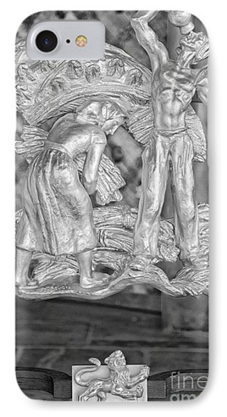 Leo Zodiac Sign - St Vitus Cathedral - Prague - Black And White IPhone Case by Ian Monk