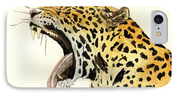 Leopard Head IPhone 7 Case by Juan  Bosco