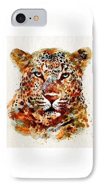 Leopard Head Watercolor IPhone 7 Case by Marian Voicu
