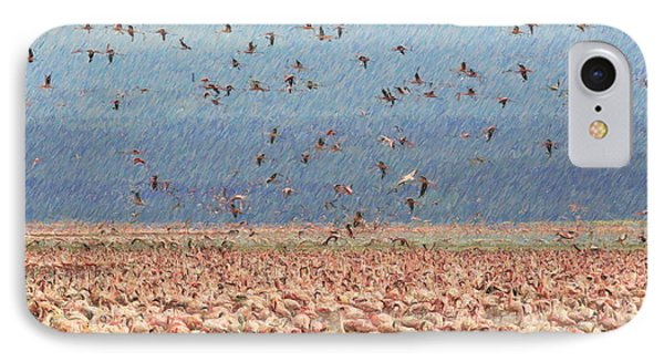 Lesser Flamingo Flock At Lake Nakuru Kenya IPhone Case by Liz Leyden