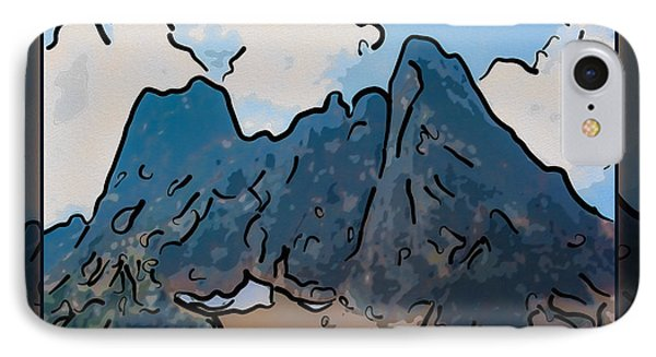 Liberty Bell Mountain Abstract Landscape Painting IPhone Case by Omaste Witkowski