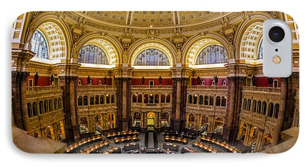 Library Of Congress Main Reading Room Phone Case by Susan Candelario