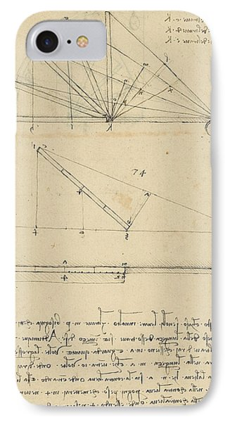 Lifting By Means Of Pulleys Of Beam With Extremity Fixed To Ground From Atlantic Codex Phone Case by Leonardo Da Vinci