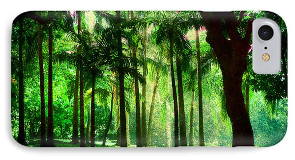 Light In The Jungles. Viridian Greens. Mauritius Phone Case by Jenny Rainbow