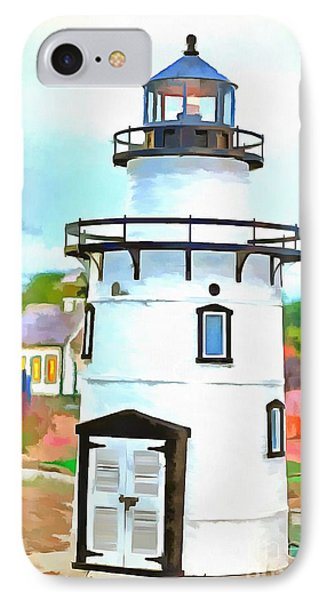Lighthouse At Old Saybrook Point IPhone Case by Edward Fielding