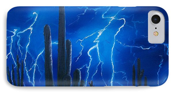 Lightning  Over The Sonoran IPhone Case by Sharon Duguay
