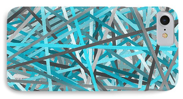 Link - Turquoise And Gray Abstract IPhone Case by Lourry Legarde