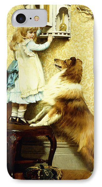 Little Girl And Her Sheltie IPhone Case by Charles Burton Barber