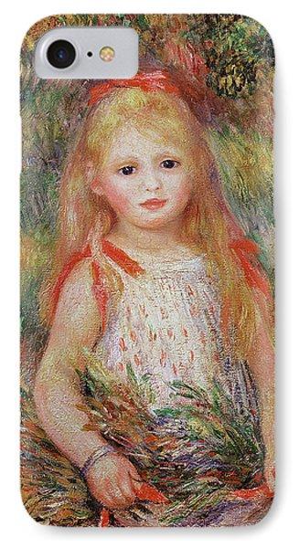 Little Girl Carrying Flowers IPhone Case by Pierre Auguste Renoir