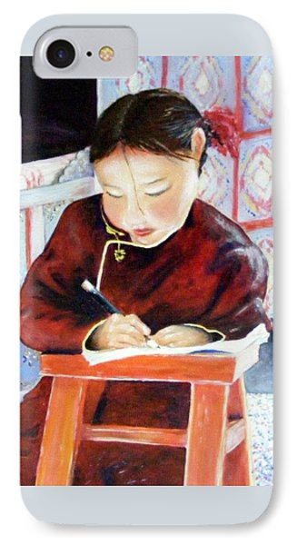 Little Girl From Mongolia Doing Her Homework Phone Case by Barbara Jacquin