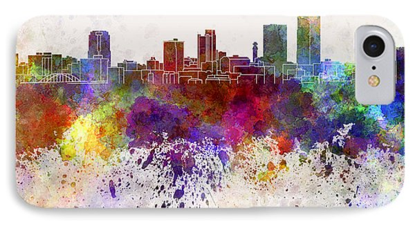 Little Rock Skyline In Watercolor Background Phone Case by Pablo Romero