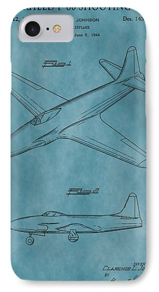 Lockheed P-80 Patent Blue IPhone Case by Dan Sproul
