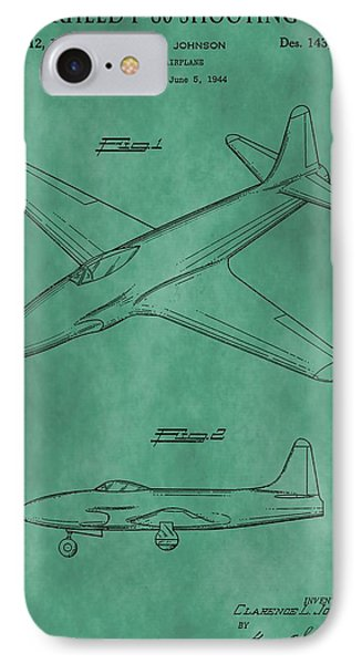 Lockheed P-80 Patent Green IPhone Case by Dan Sproul