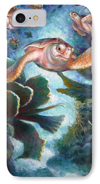 Loggerhead Sea Journey II IPhone Case by Nancy Tilles