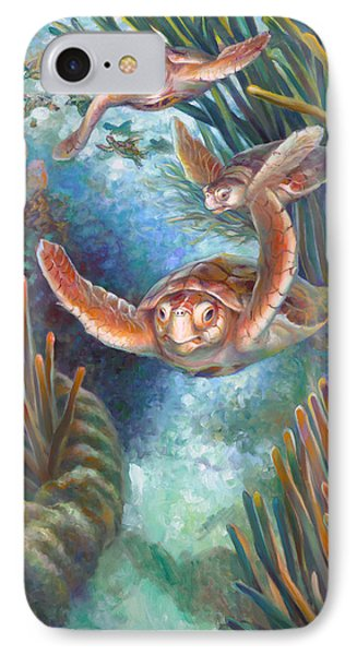 Loggerhead Sea Journey IIi IPhone Case by Nancy Tilles