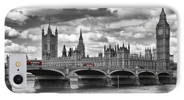 London - Houses Of Parliament And Red Buses IPhone 7 Case by Melanie Viola