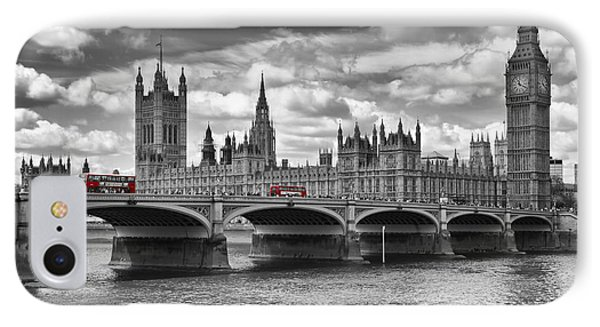 London - Houses Of Parliament And Red Buses IPhone Case by Melanie Viola