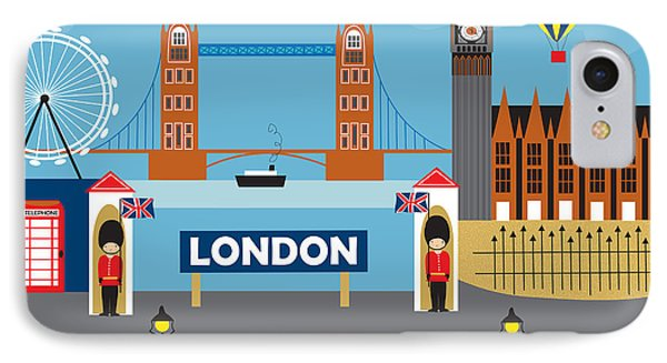 London England Skyline Style O-lon IPhone Case by Karen Young