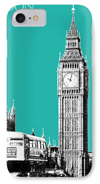 London Skyline Big Ben - Teal IPhone Case by DB Artist