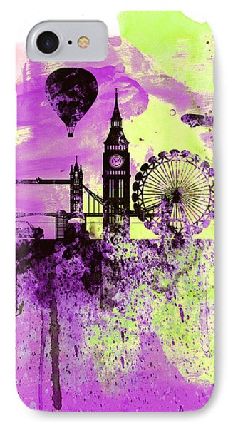 London Skyline Watercolor 1 IPhone 7 Case by Naxart Studio