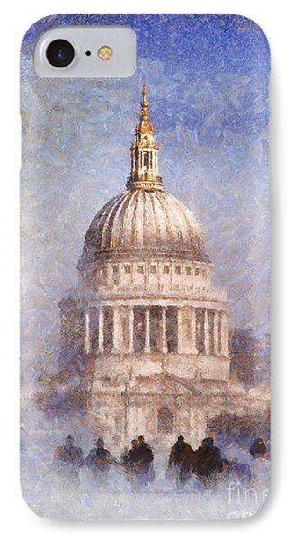 London St Pauls Fog 02 IPhone Case by Pixel Chimp