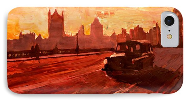 London Taxi Big Ben Sunset With Parliament Phone Case by M Bleichner