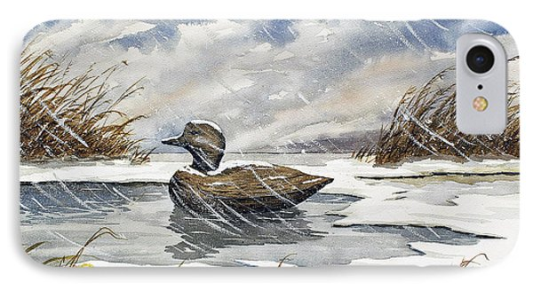 Lonely Decoy In Snow IPhone Case by Raymond Edmonds