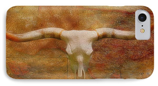 Longhorn Of Texas IPhone Case by Jack Zulli