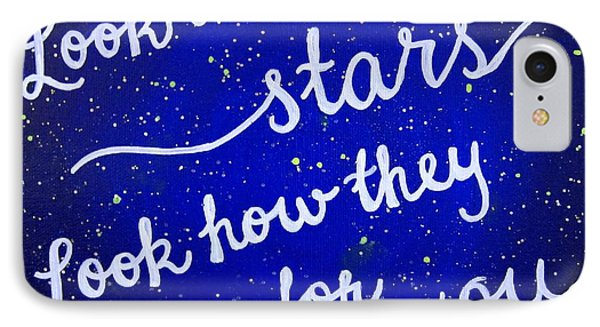 Look At The Stars Quote Painting IPhone Case by Michelle Eshleman