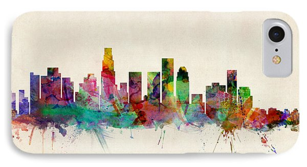 Los Angeles City Skyline IPhone 7 Case by Michael Tompsett