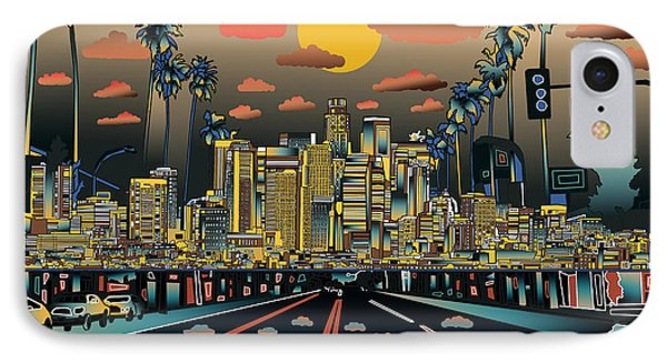Los Angeles Skyline Abstract 2 IPhone Case by Bekim Art