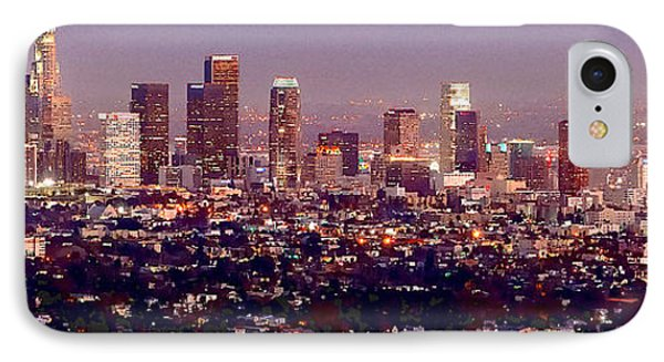 Los Angeles Skyline At Dusk IPhone 7 Case by Jon Holiday