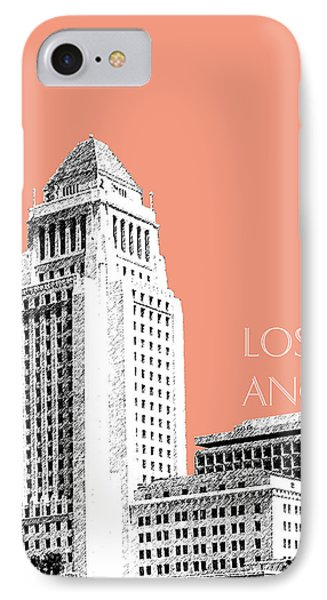 Los Angeles Skyline City Hall - Salmon IPhone Case by DB Artist