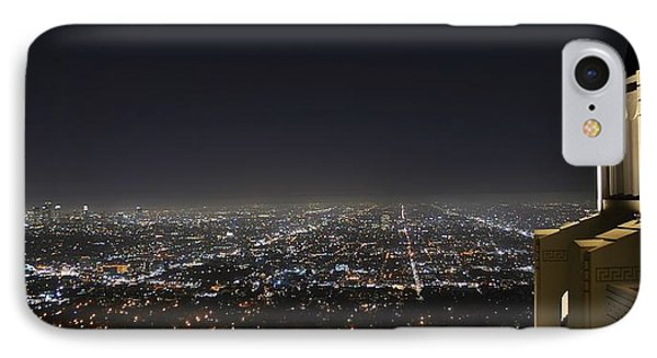 Los Angeles Skyline Panorama From The Griffith Observatory IPhone Case by David Lobos