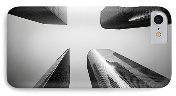 Los Angeles Skyscraper Buildings In Black And White IPhone Case by Paul Velgos