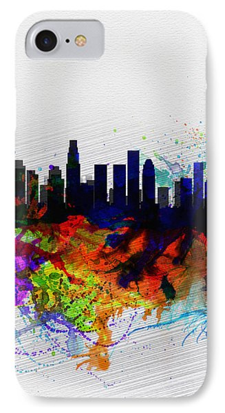 Los Angeles  Watercolor Skyline 2 IPhone Case by Naxart Studio