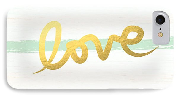 Love In Mint And Gold IPhone Case by Linda Woods